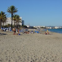 Beach of Ibiza Town on the island Ibiza (Spain)